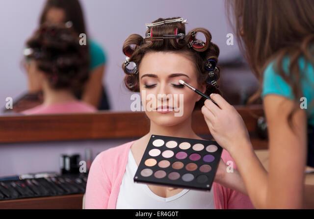 Preparation in hairdresser and makeup artist. Debica, Poland - Stock Image