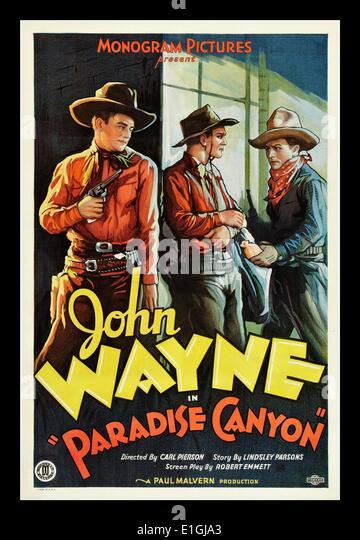'Paradise Canyon' a 1935 western movie starring John Wayne - Stock Image