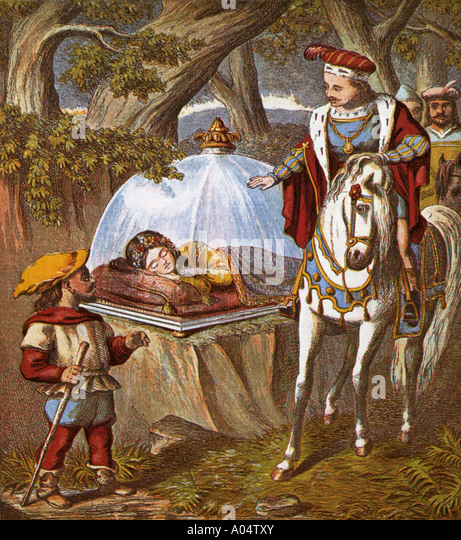 SNOW WHITE  an 1870 engraving shows the Prince finding Snow White in her glass coffin - Stock Image