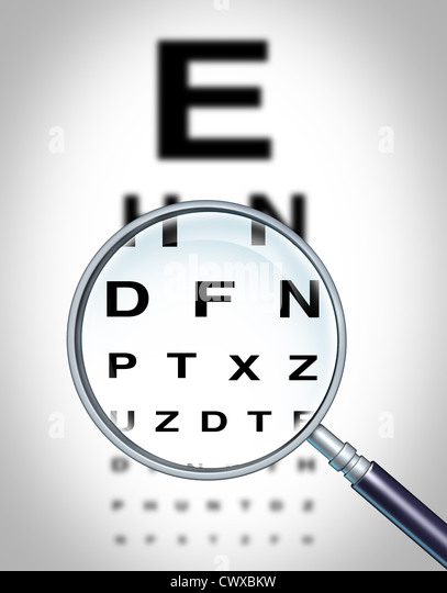 Human eye vision chart and sight medical optometrist symbol for the Ophthalmology department in ahospital with a - Stock Image