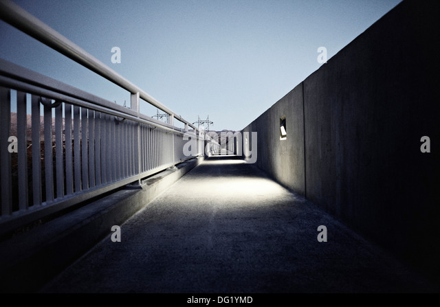 Pedestrian Walkway at Night, Hoover Dam, Nevada, USA - Stock Image