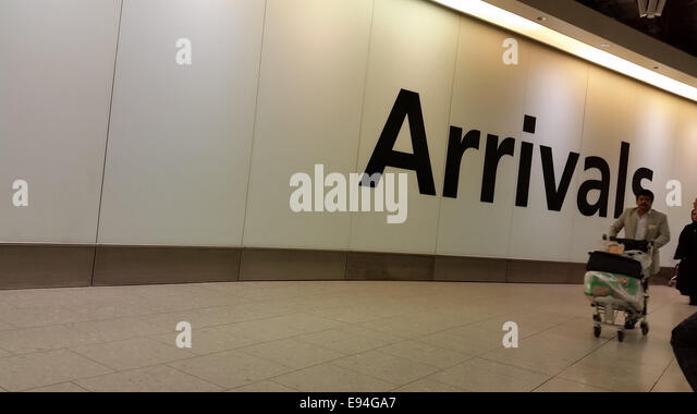 London, UK - 19 October 2014. A large welcome sign seen at the arrivals at London's Heathrow Terminal 4. Screening - Stock Image