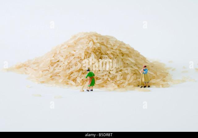 Miniature women sweeping large pile of rice - Stock-Bilder