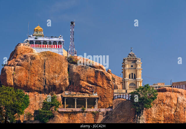 Rock Fort Temple Trichy Tamil Nadu India - Stock Image