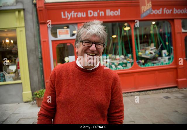 Selwyn Jones, co-owner, Palas Print welsh bookshop, Caernarfon, Gwynedd, north wales UK - Stock Image
