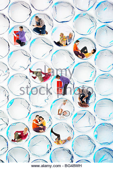 People performing different tasks inside bubble wrap bubbles - Stock-Bilder