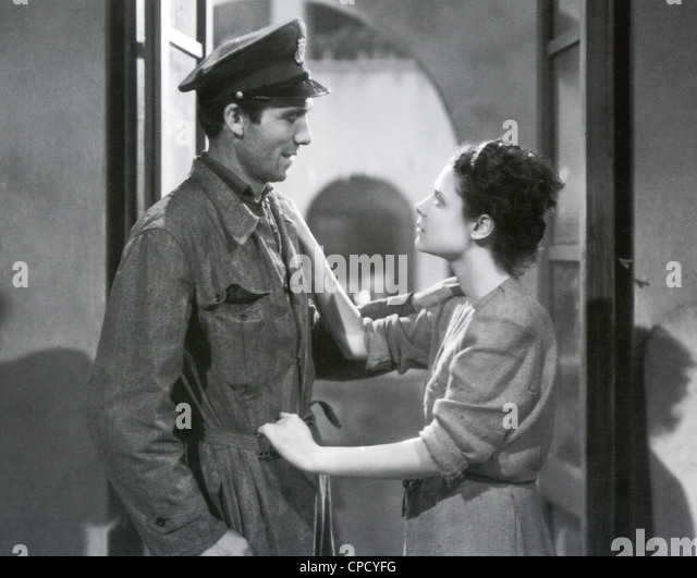 THE BICYCLE THIEF 1948 ENIC film with  Lamberto Maggiorani as Antonio in his new uniform and Lianella Carell as - Stock Image