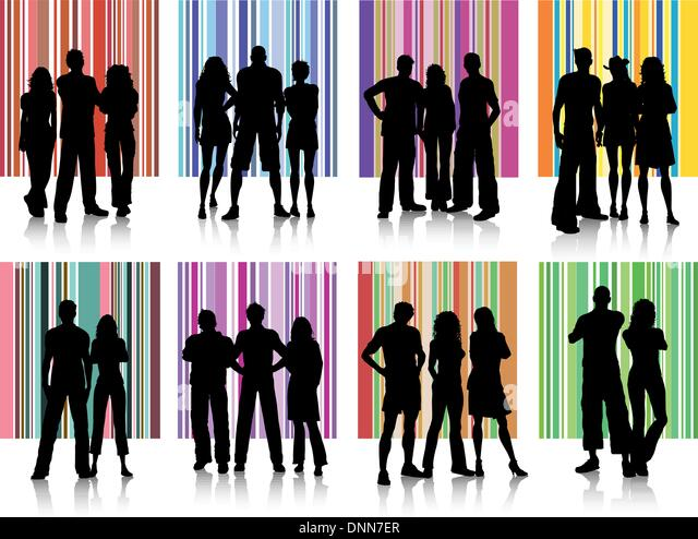 Silhouettes of various groups of people on retro backgrounds - Stock-Bilder