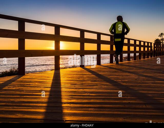 Sunset senda Litoral, pathway wooden walkway path, Mijas. Malaga province Costa del Sol. Andalusia southern Spain - Stock-Bilder