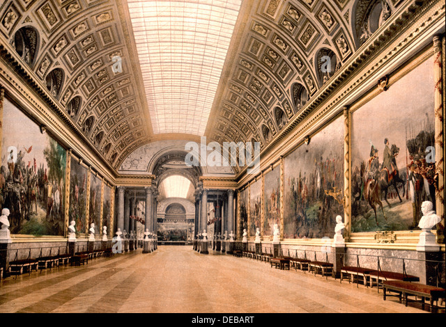 Gallery of Battles, Versailles, France, circa 1900 - Stock Image