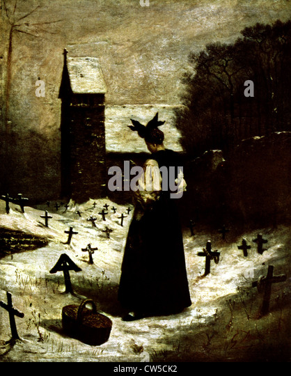 Gustave Doré, Woman in a cemetery - Stock-Bilder
