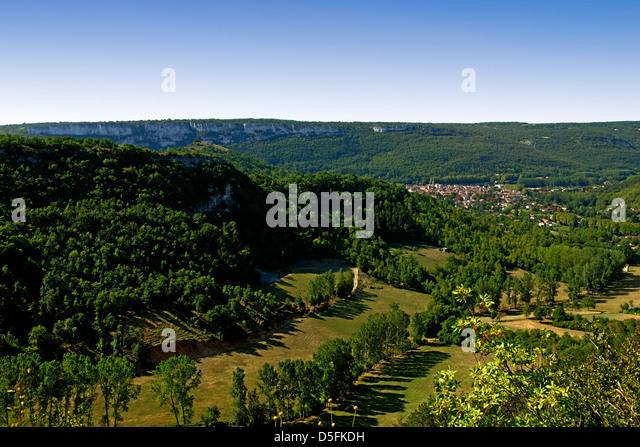 Limestone gorge above St Antonin Noble Val, Tarn et Garonne, France - Stock Image