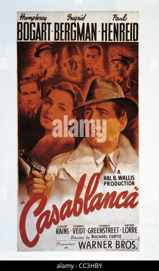 Movies: Casablanca, 1942. Directed By Michael Curtiz Humphrey Bogart, Ingrid Bergman. Poster. - Stock Image