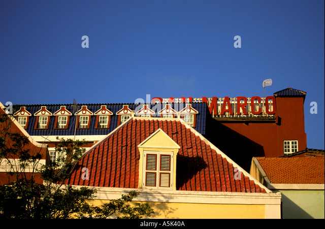 Curacao Willemstad Punda jumbled rooftops - Stock Image