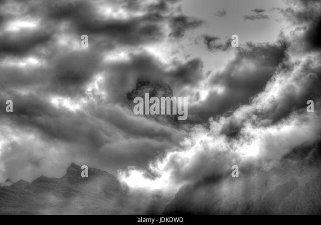 Matterhorn with clouds - Stock-Bilder
