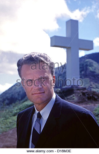 Billy Graham in front of the Kolekole Cross at the U.S. Army's Schofield Barracks at Kolekole Pass, Oahu, Hawaii, - Stock Image