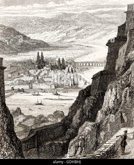 Fortress Ehrenbreitstein, Koblenz, Germany, 19th century - Stock-Bilder
