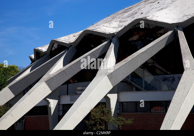 Palazzetto dello sport, Rome. Sports Palace, Rome. Detail of the reinforced concrete dome - Stock Image
