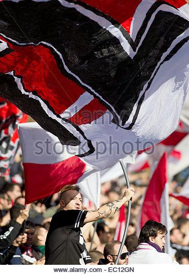 SPAIN, Madrid: Rayo Vallecano fans 'Bukaneros' during the Spanish League 2014/15 match between Rayo Vallecano - Stock Image