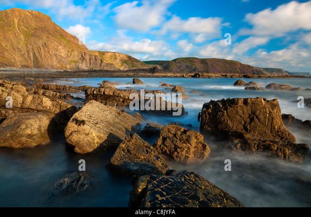 The rocky shores of Hartland Quay in North Devon, England, United Kingdom, Europe - Stock Image