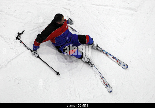 Dubai, United Arab Emirates, man crashed while skiing - Stock Image