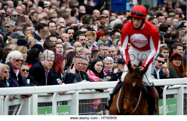 Britain Horse Racing - Cheltenham Festival - Cheltenham Racecourse - 14/3/17 Racegoers watch preparations for the - Stock-Bilder