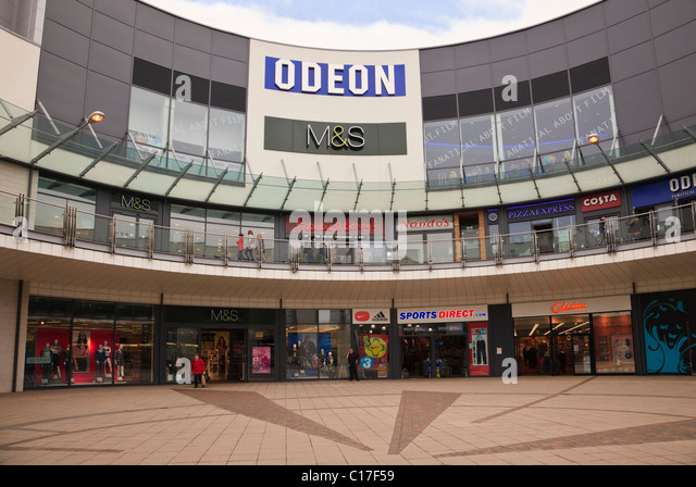 Wrexham, Flintshire, North Wales, UK, Britain. Eagles Meadow shopping centre with M&S and Odeon cinema - Stock Image