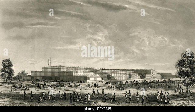 Antique c1851 steel engraving of The Crystal Palace for the Grand International Exhibition of 1851 in Hyde Park, - Stock Image