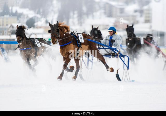 Horse racing on a frozen lake, St. Moritz, Engadin, Graubünden, Switzerland - Stock Image