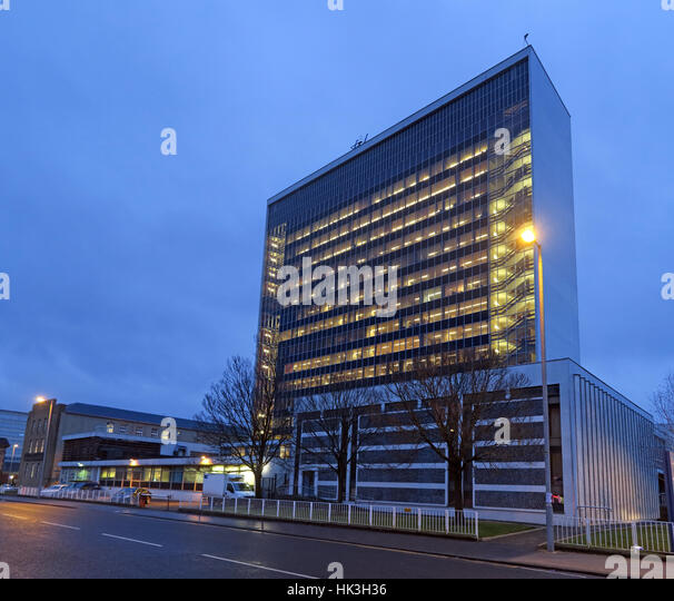 South Lanarkshire Council HQ at dusk,Almada St, Hamilton ML3 0AA - Stock Image