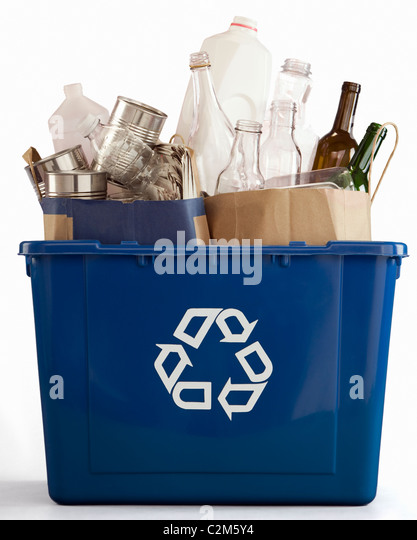 Recycle bin filled with recyclables - Stock Image