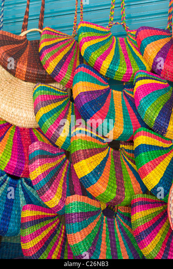 Handmade bags on sale in the Indian Market, Miraflores, Lima, Peru - Stock Image