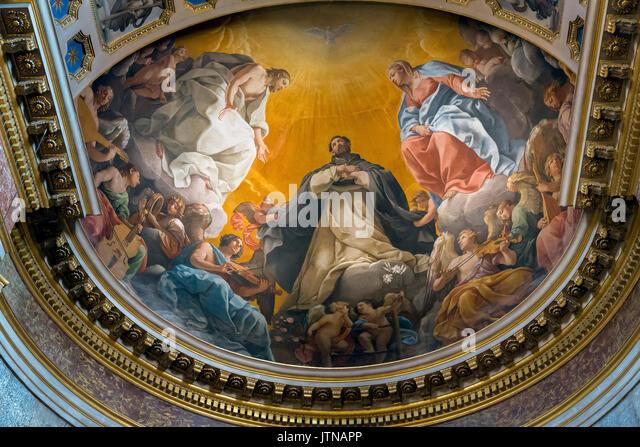 St Dominic's Glory by Guido Reni,  St Dominic's chapel, Basilica of San Domenico, Bologna, Emilia-Romagna - Stock Image