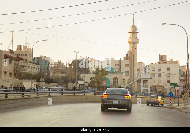 Street in early morning in Amman, Jordan - Stock Image