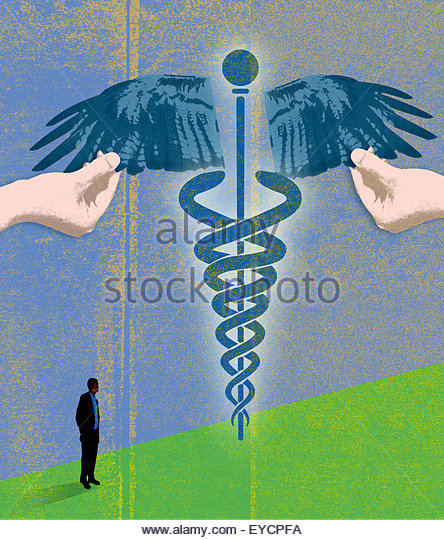 Man watching hands holding out wings of caduceus - Stock Image