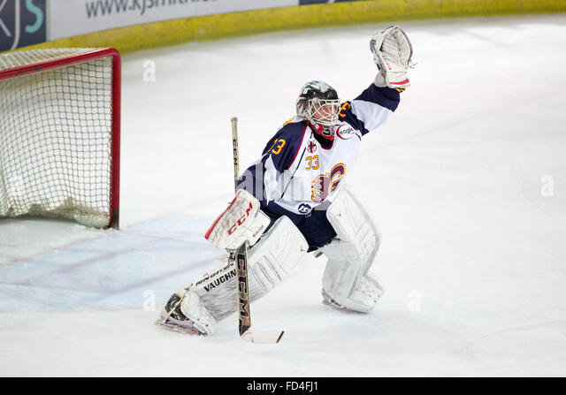 Guildford, Surrey, UK. 27th January, 2016. English Premier Ice Hockey League: Guildford Flames v Basingstoke Bison. - Stock Image