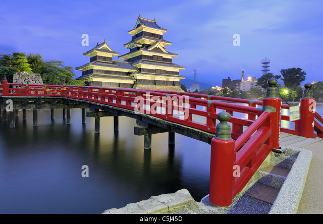 The historic Matsumoto Castle dating from the 15th Century in Matsumoto, Japan. - Stock Image