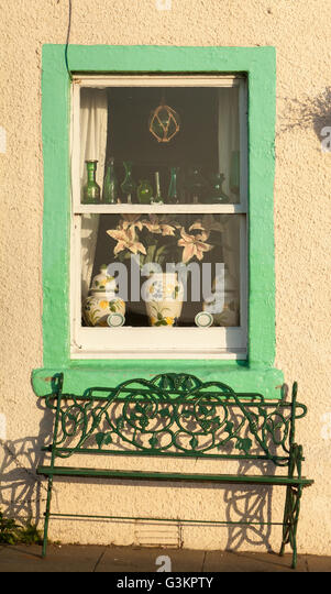 Windows and Bench, Early Morning, Pittenweem, Fife, Scotland - Stock Image