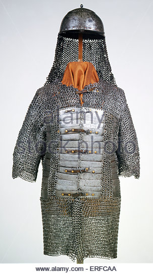 Turkish armour and helmet, 16th century. Courtesy The Tower of London. - Stock Image