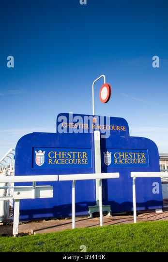 The finish post at Chester Horse Racing Course - Stock Image