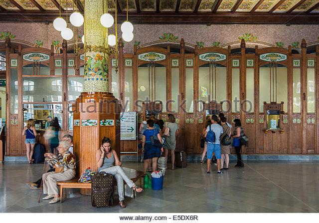 Interior of Estacion del Norte train station, Valencia, Comunidad Valenciana, Spain - Stock Image