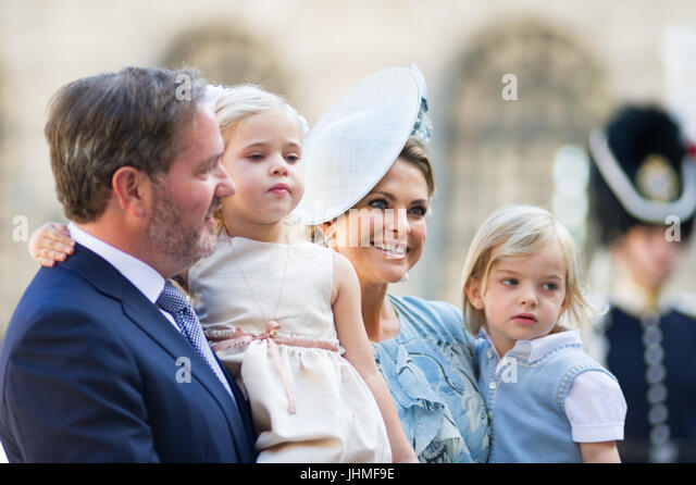 Inner Courtyard, The Royal Palace, Stockholm, Sweden, July 14, 2017. Crown Princess Victoria of Sweden's 40th birthday - Stock Image