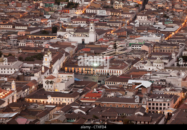 OLD TOWN OF QUITO AS SEEN FROM PANECILLO STATUE - Stock Image