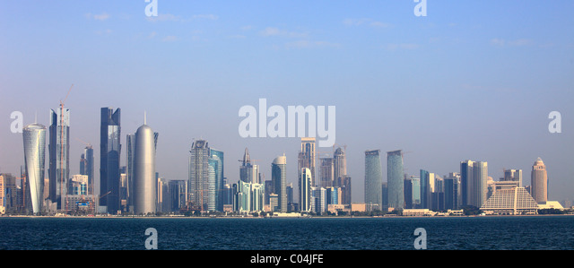 Qatar, Doha, skyline, skyscrapers, general view, - Stock Image