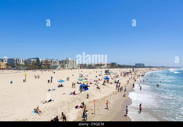 The beach at Santa Monica viewed from the pier, Los Angeles, California, USA - Stock Image