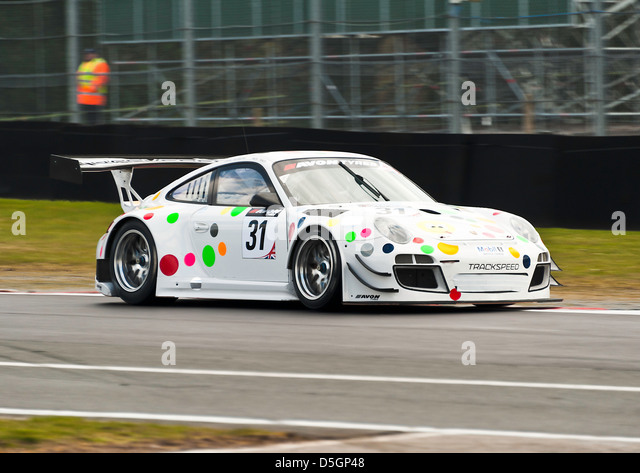 Porsche 997GT3 R Sports Car in British GT Championship at Oulton Park Motor Racing Circuit Cheshire England United - Stock Image