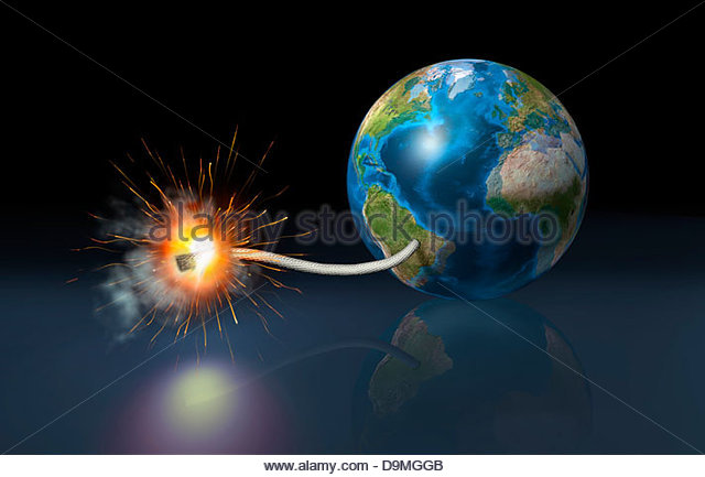 Earth globe with a fuse lighted up as a time bomb. - Stock Image
