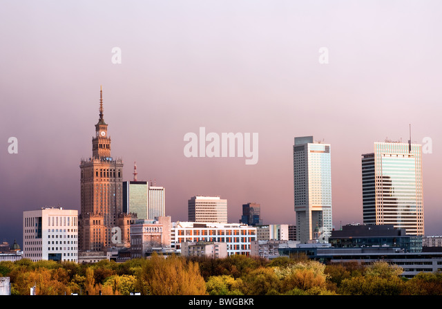 Warsaw, capital city of Poland cityscape, just before the sunset, featuring Palace of Culture and Science, Srodmiescie - Stock-Bilder