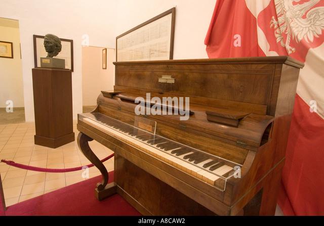 Mallorca Kartause Valdemossa Chopin Museum piano roses - Stock Image
