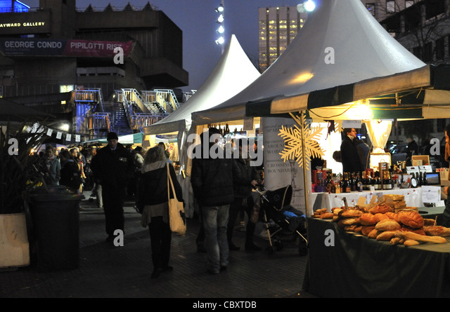 South Bank Christmas food festival market and festival 2011, London. - Stock Image